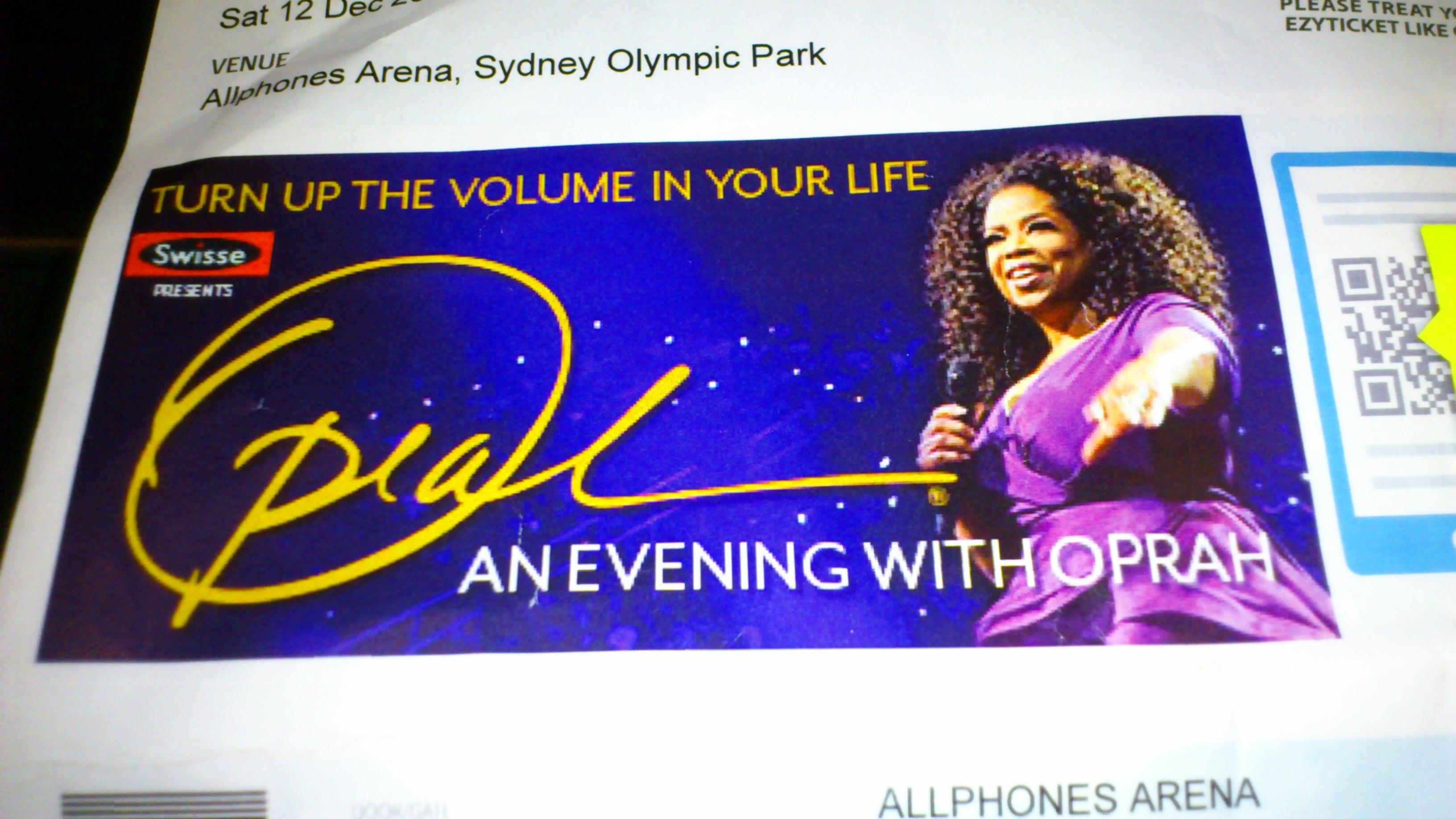Oprah Sydney ticket