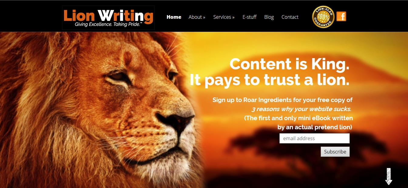 Lion WRiting 2016 home page top of
